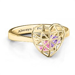Diamond Heart Cage Ring With Encased Heart Stones