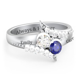 Flared Bypass Ring with Gemstones and Accents