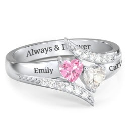 Flared Bypass Ring with Heart Cut Gemstones and Accents