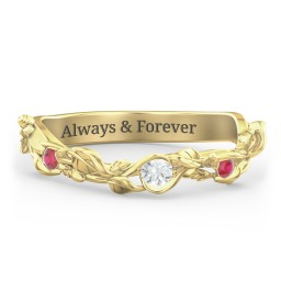 Leaf Band Ring with Gemstones