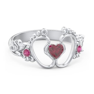 59ded0c88e9b Sterling Silver Anillo Pie de Bebe Amor y Placer with Ruby Stones ...
