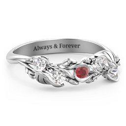 Organic Leaf Five Stone Family Ring