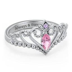 Heart Tiara Ring with Marquise Gemstone