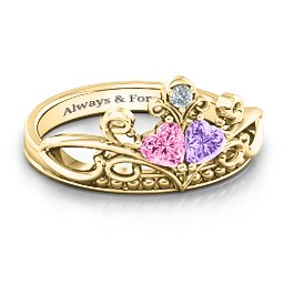 Ever Enchanted Double Heart Tiara Ring