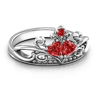 d170a0d7e Sterling Silver Ever Enchanted Double Heart Tiara Ring with Garnet Stones    Jewlr