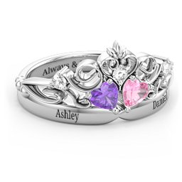 Engravable Double Heart Gemstone Tiara Ring with Accents