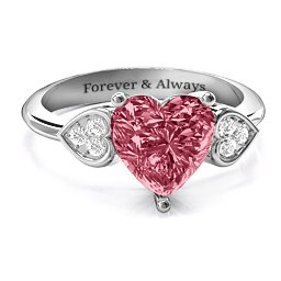 9mm Heart Swarovski Zirconia Ring with Cluster Accents