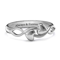 Engraveable Initial Heart and Infinity Ring