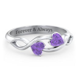 Heavenly Hearts Ring with Heart Birthstones