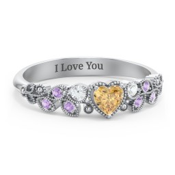 Heart Cut Gemstone Ring with Milgrain and Leaf Detailing