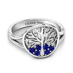 Always Around Love 6 Stone Family Tree Ring