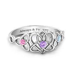 Triple Trinity Celtic Heart Ring
