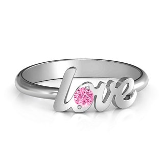 e60439bc09 Sterling Silver Letters Of Love Ring with Pink Tourmaline (Simulated) Stone  | Jewlr