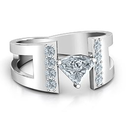 Contemporary Cutout Ring With Accents