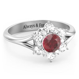 Aurora Round Cluster Ring with Birthstones