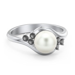 7mm Freshwater Pearl Wave Ring with Accents