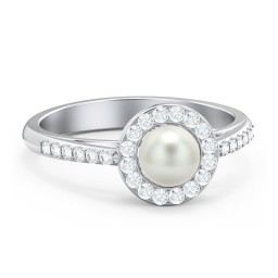 Freshwater Pearl Ring with Halo and Side Setting Accents