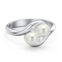 Twin 5mm Freshwater Pearl Ring with Accents
