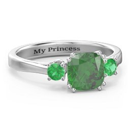 3 Stone Cushion Cut Duchess Ring with Side Stones
