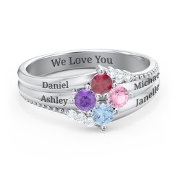Engravable Triple Band Gemstone  Ring with Accents
