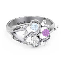 Engravable Intertwined Triple Heart Ring with Gemstones
