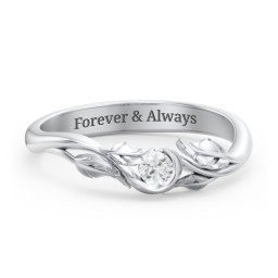 Solitaire Leaf Band Ring