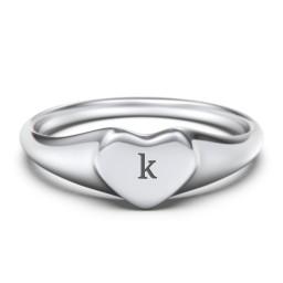 Engravable Heart Signet Ring