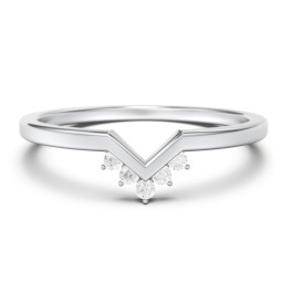 V-Shaped Stackable Ring with Accents