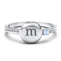Engravable Disc Ring with Gemstone and Beaded Band