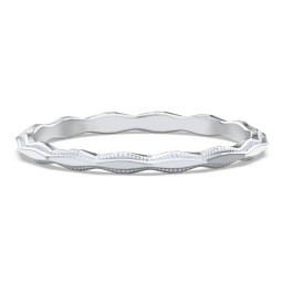 Faceted Wave Band with Milgrain Detailing