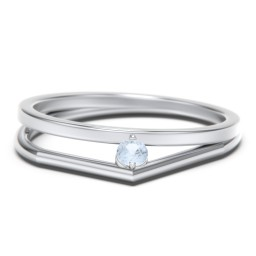 Geometric Split Shank Ring with Tilted Gemstone