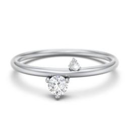Off-Set Gemstone Stacking Ring