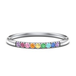 Rainbow Stackable Ring with Pavé Setting