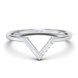 V-Shape Stackable Ring with Accents