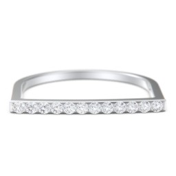 Flat Top Stackable Ring with Accents