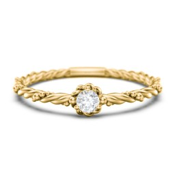 Twisted Band Stackable Ring with Gemstone