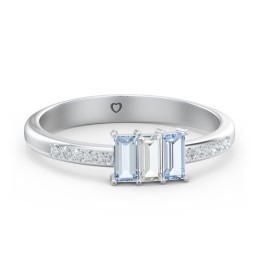 3 Stone Vertical Baguette Ring with Accents