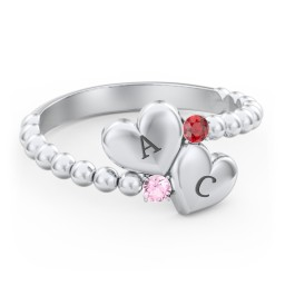 Engravable Double Heart Ring with Birthstones