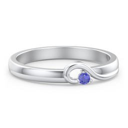 Half Heart Ring with Birthstone