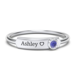 Engravable Bar Ring with Birthstone
