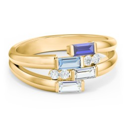 Engravable 4 Baguette Gemstone Ring with Accents
