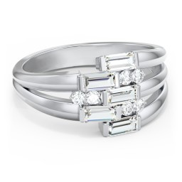 Engravable 5 Baguette Gemstone Ring with Accents