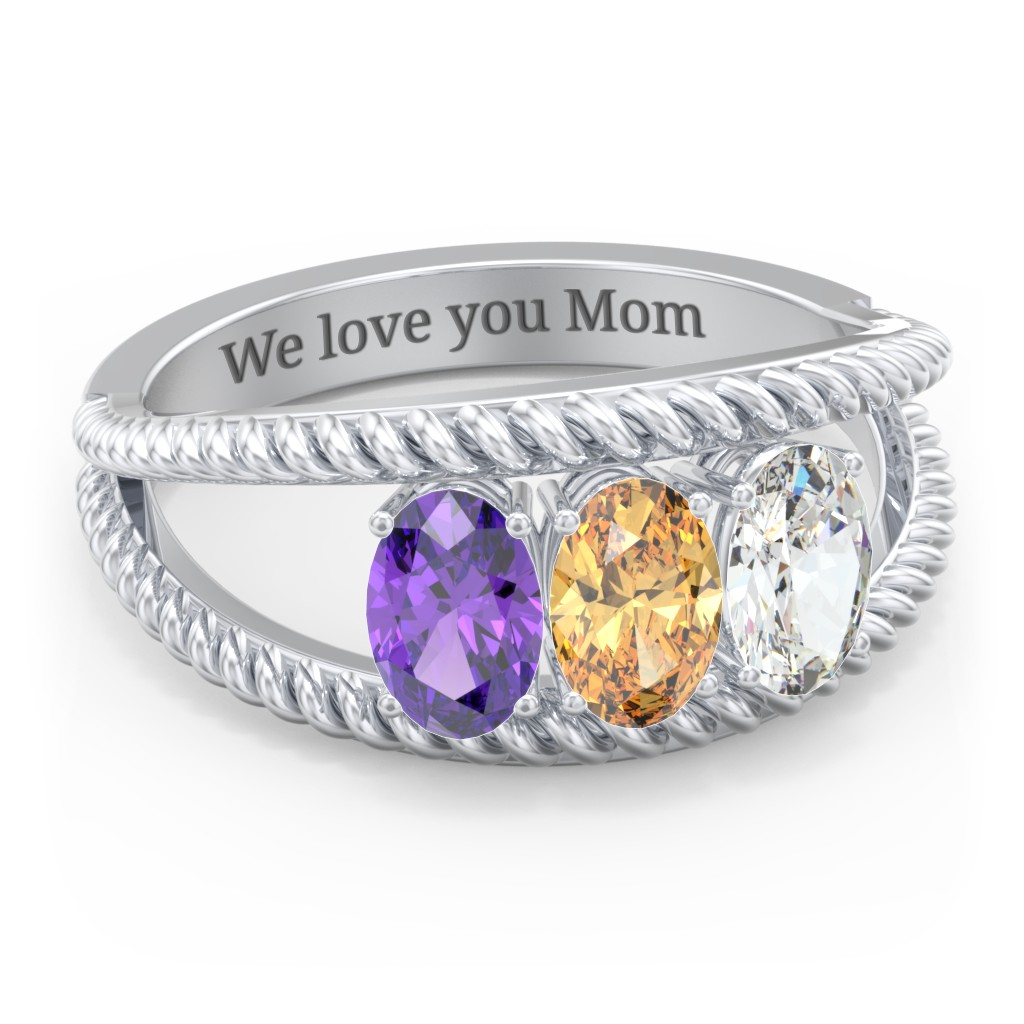 Sterling Silver Oval Birthstone Ring with Twisted Rope Band