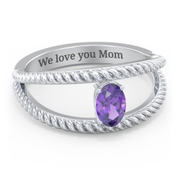 Oval Birthstone Ring with Twisted Rope Band