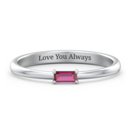 Engravable Baguette Ring with East-West Setting