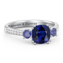 3 Stone Cushion Cut Duchess Ring with Accents