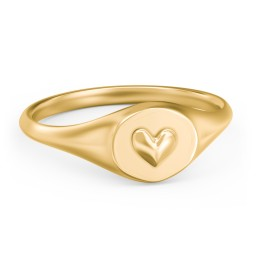 Puffed Heart Signet Ring