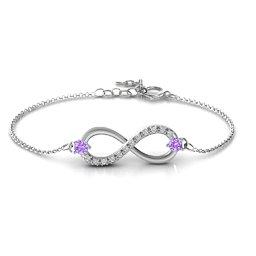 Double Stone Infinity Accent Bracelet