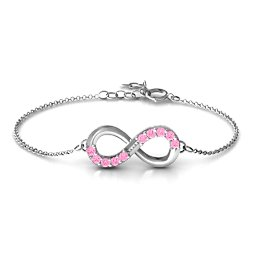 Birthstone Accent Infinity Bracelet