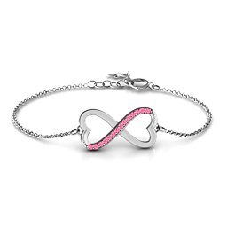 Double Heart Infinity Bracelet with Accents